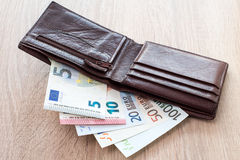 Open wallet with euro banknotes. On the wooden table Royalty Free Stock Photography