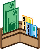 Open Wallet Icon Bills and cards Vector Stock Photography