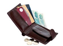 Open wallet with money and credit cards Stock Photo