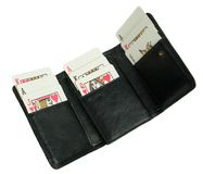 Open wallet with playing cards Stock Images