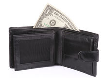 Open Wallet With One Dollar Royalty Free Stock Image