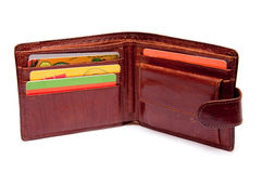Open wallets with discount cards Stock Photo