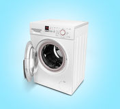 Open washing machine on gradient background 3D illustration Stock Photos