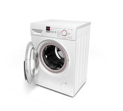 Open washing machine on white background 3D illustration. Open washing machine on white background 3D Royalty Free Stock Photo