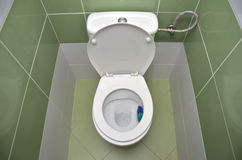 Open water closet with green tiles in background. View from above Stock Images