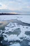 Open Water on a Frozen Lake Stock Photography