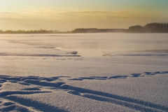 Open water. On a large river in winter Stock Photography