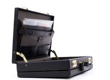 Open, wears out, briefcase from documents inside Royalty Free Stock Images