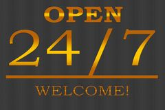 Open - welcome 24/7 - illustration. Open and welcome 24/7 advertisement and promotional illustration for any type of business Stock Photos