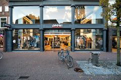 OPEN32 store in Sneek, the Netherlands. OPEN32 is a well-known multi-brand fashion store with some 60 locations throughout the Netherlands and Belgium stock photography