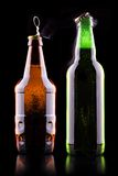 Open wet beer bottle Stock Images