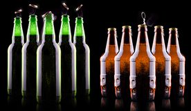 Open wet beer bottle Royalty Free Stock Image