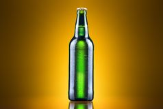 Open wet beer bottle. On a colored background Stock Images