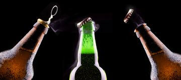 Open wet beer bottle Royalty Free Stock Photo