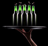 Open wet beer bottles Royalty Free Stock Photography