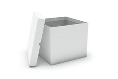 Open white blank box. 3d render of open white blank box on a white background Royalty Free Stock Image