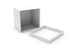 Open white blank box on one side Royalty Free Stock Photo
