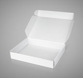 Open white blank carton pizza box Royalty Free Stock Photos