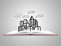 Open white book with sketch of city Stock Image