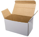 Open white cardboard box isolated background Royalty Free Stock Photos