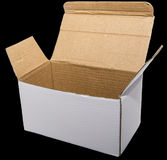 Open white cardboard box isolated black Royalty Free Stock Photography