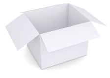 Open white cardboard box. Isolated render on a white background Royalty Free Stock Photo