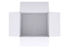Open white cardboard box. Isolated render on a white background Royalty Free Stock Photos