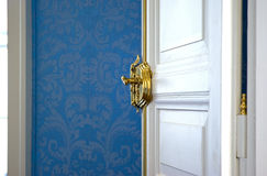 Open white door stock photography