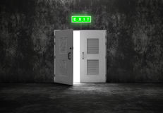 Open white door exit on grey background Royalty Free Stock Photography