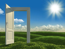 Open white door to the meadows. Surreal landscape of an open white door on green meadows Stock Image