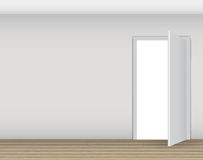 Open White Door on Wall Vector Illustration Royalty Free Stock Image