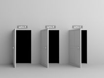 3 open white doors with 3 options. On white wall Royalty Free Stock Photography
