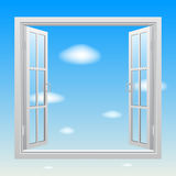 Open white double window on blue sky background Royalty Free Stock Images