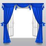 Open white double window with classic blue blinds Royalty Free Stock Photos