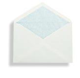 Open white envelope. Closeup of open stationery envelope isolated on white background Royalty Free Stock Photo