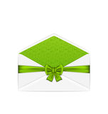 Open white envelope with bow ribbon for St. Patricks Day, isola Royalty Free Stock Photo