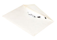 Open white envelope with child letter Royalty Free Stock Photos
