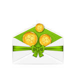 Open white envelope with golden coins and bow ribbon for St. Pat. Illustration open white envelope with golden coins and bow ribbon for St. Patricks Day stock illustration