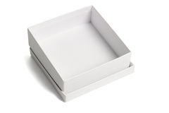 Open white gift box. Open empty white gift box with lid on isolated background Stock Photos