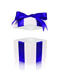 Open white gift box with blue bow and floating lid Royalty Free Stock Photography