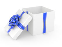 Open white Gift Box with blue glossy Ribbon Bow Stock Photos