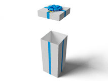 Open White gift box with blue ribbon bow. On white Royalty Free Stock Image