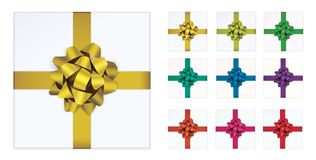 Open white gift box and with color bows and ribbon vector design elements set isolated on white background. View from top. Open white gift box and with color Royalty Free Stock Photo