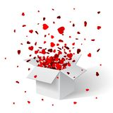 Open White Gift Box and Confetti. Christmas Background. Vector Illustration.  Stock Image