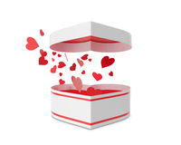 Open white gift box with flow hearts. Stock Image