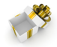 Open white gift box with gold bow isolated on white background 2 Royalty Free Stock Images