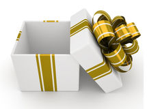 Open white gift box with gold bow isolated on white background 5 Stock Photos