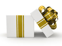 Open white gift box with gold bow isolated on white background 4 Royalty Free Stock Photo