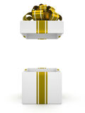 Open white gift box with gold bow isolated on white background 6 Royalty Free Stock Images
