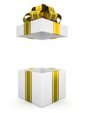 Open white gift box with gold bow isolated on white background 7 Stock Image